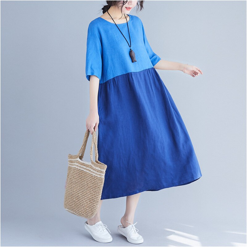 Johnature 19 Summer Women Clothing New Loose Patchwrok Hit Color Casual Dresses Half Sleeve O-neck Pockets Women Dress 1
