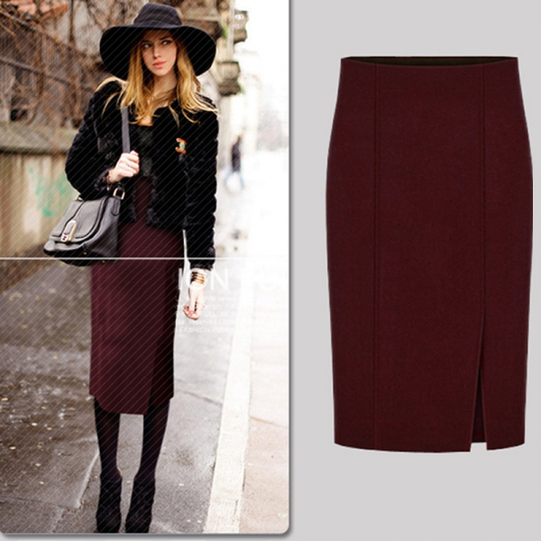 17 Autumn Winter Fashion Women Pencil Skirts Sexy Cotton and Wool Knit Slim High Waist Knee-Length Skirt Jupe Femme Female 50