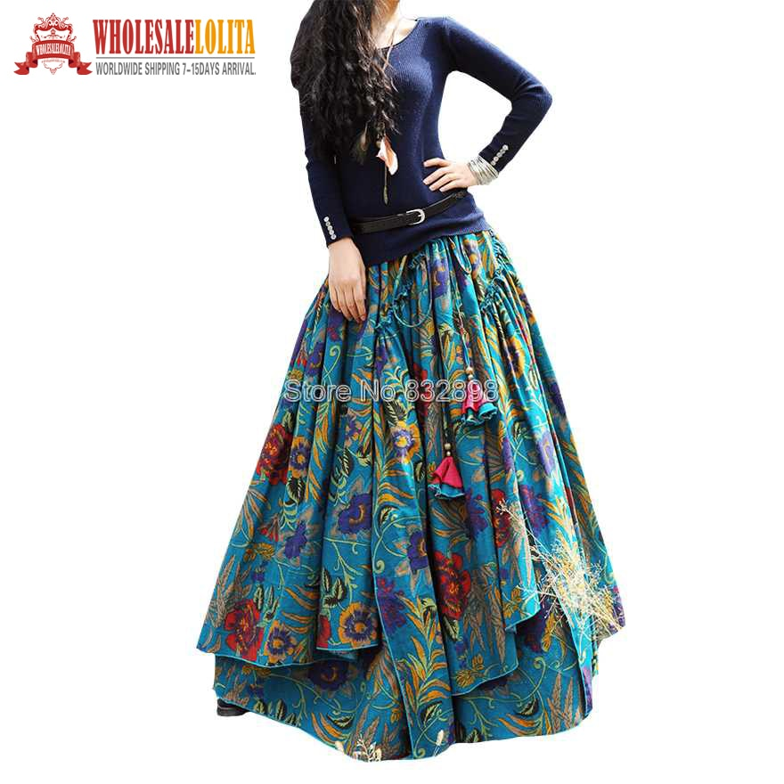 New Fashion Top Sale Long Flowing Thick Cotton Multicolor Print Skirts Bohemia Style Ethnic Print Linen Skirt 1