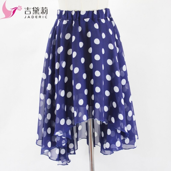 Jaderic 18 new arrival spring and summer big polka dot chiffon long irregular short skirt high waist skirts