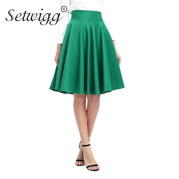 SETWIGG Spring Women's Fashion Midi Skater Skirts High Waist Zipper Thick Flare Pleated Midi Skirt Autumn Swing Skirts SG902