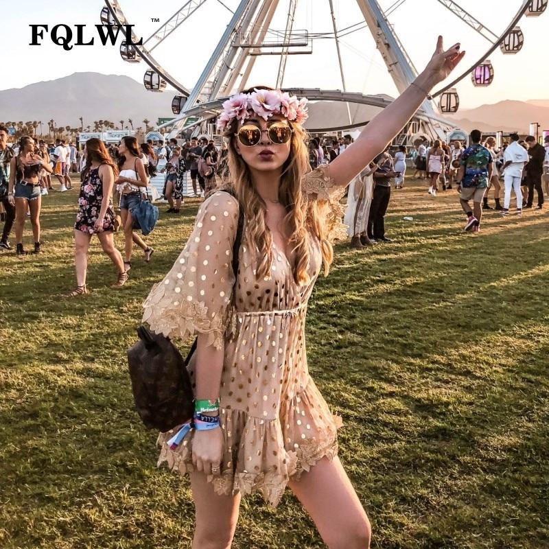 FQLWL Patchwork Embroidery Polka Dots Sexy Mesh Dress Women Gold Half Sleeve Loose Party Mini Dresses Summer Beach Dress Elegant 1