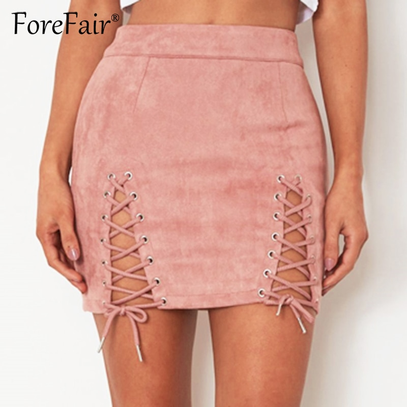 Forefair Suede Leather Skirts Womens 18 Autumn Winter Black Skirt Women Vintage High Waist Lace Up A Line Mini Skirt 3
