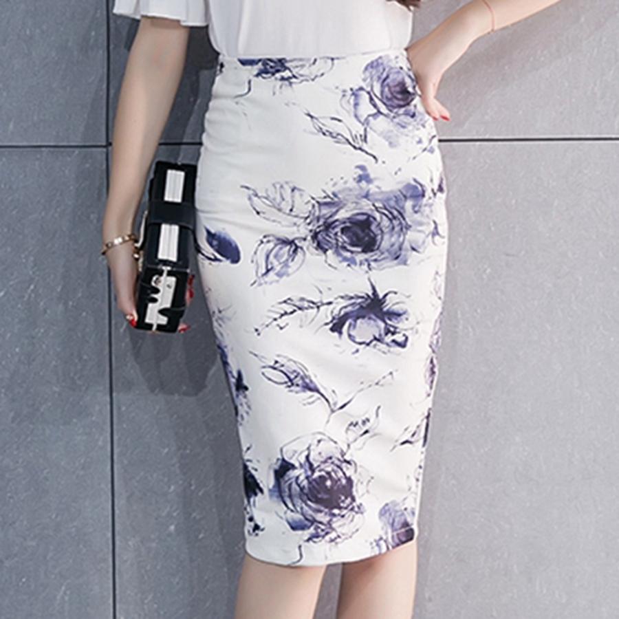 19 Spring Summer Work Skirts Women Sexy High Waist Slim Floral Print Fashion Lady Vintage Office Pencil Skirt Saias 2