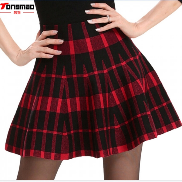 Spring Skirts Women's 18 Autumn New Design Fashion High Waist Short Mini Pleated Wool Plaid Women's Skirts