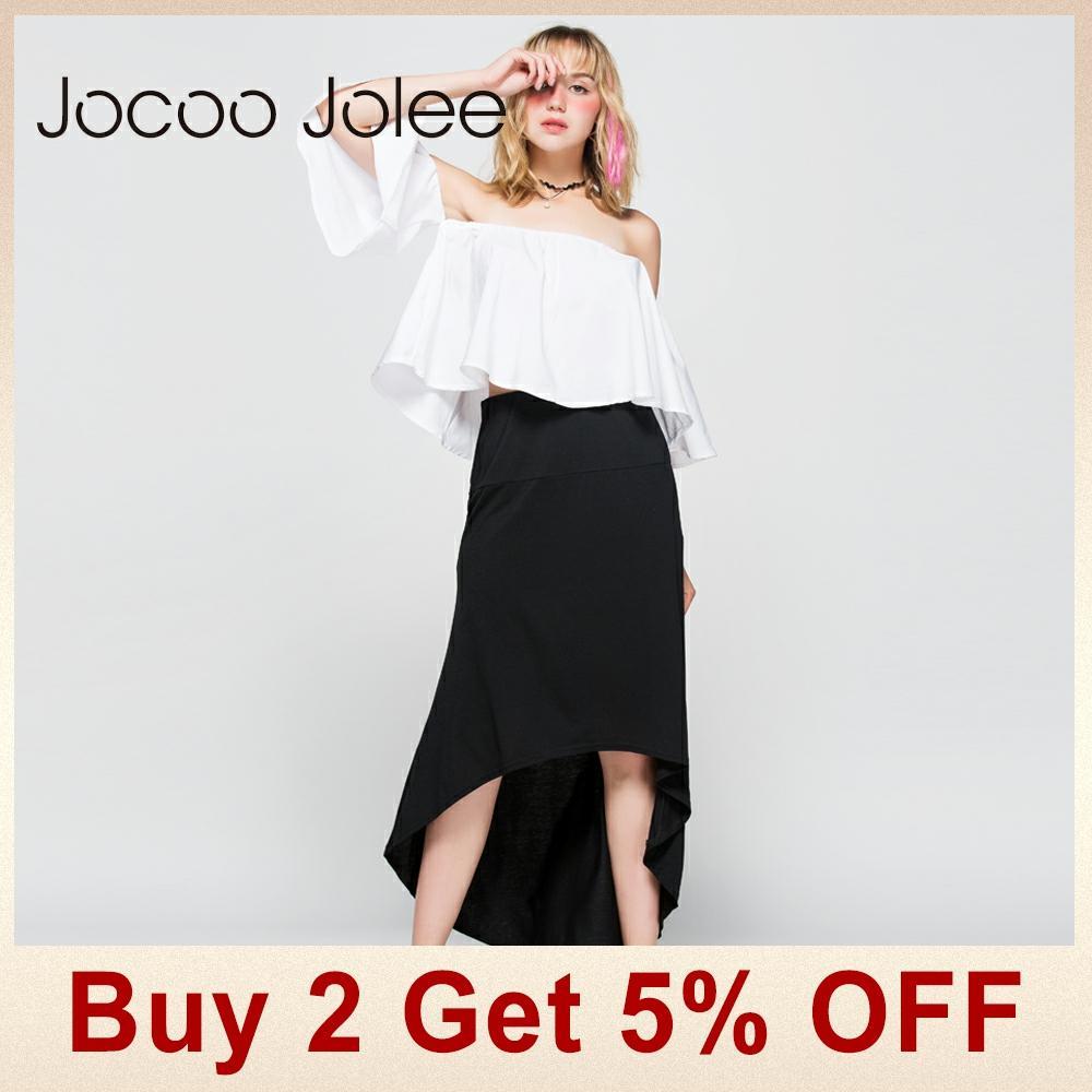 Jocoo Jolee Women Asymmetrical Skirt Swallow Tail Natural Waist Casual Party Beach Fitted Elegant Long Skirt Ladies Jupe 2