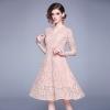 Women 19 Summer Dresses Hollow Out Women Half Sleeve Floral Crochet Casual Pink Lace Dress Femininas Vestidos