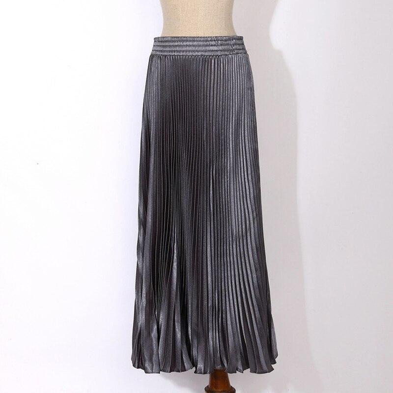 Womens Velvet Long Metallic Pleated Skirt 17 Summer Vintage Casual High Waist Female Soft Retro High Elastic Elegant Ladies 2