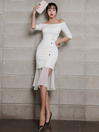 Summer Women Mermaid Dress 19 Plus Size White Half Sleeve Slash Neck Button Vintage Elegant Dress Chiffon Midi Dresses Elbise
