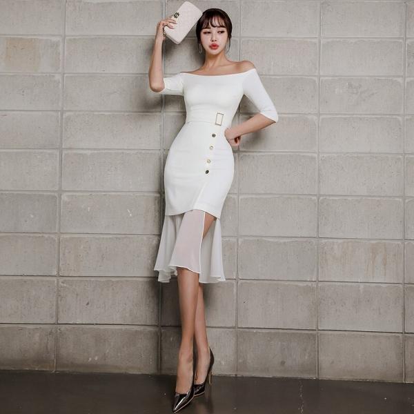 Summer Women Mermaid Dress 19 Plus Size White Half Sleeve Slash Neck Button Vintage Elegant Dress Chiffon Midi Dresses Elbise