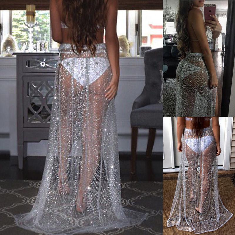 Summer Sexy Beachwear Rhinestone Long Sequin Skirt Loose Side Split Mesh See Through Gold Maxi Glitter Skirt Sparkle Female 1