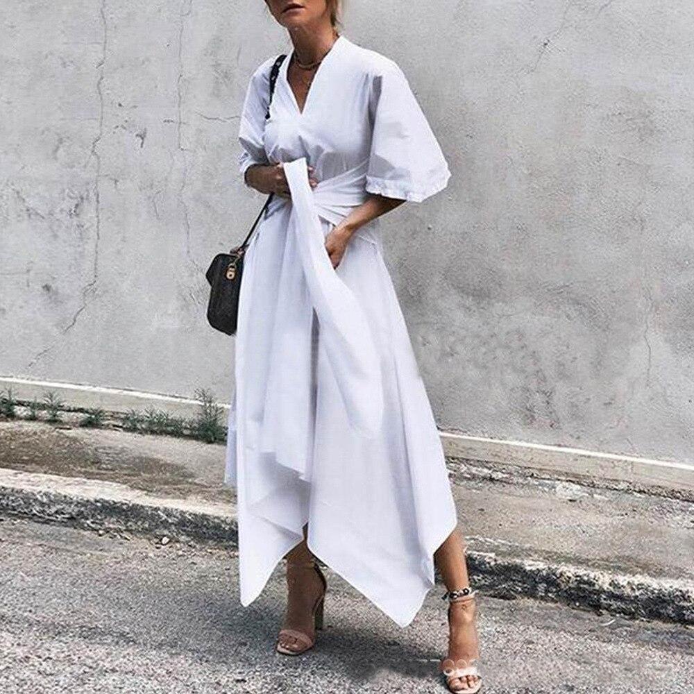 ELSVIOS 5XL Elegant Ladies Dresses Plus Size V-neck Half Sleeve Autumn Dress Women Lace-up Solid Irregular Party Dress Vestidos 2