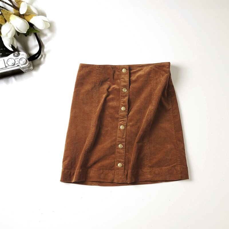 19 Autumn New Arrival Women Fashion Casual Single Breasted Corduroy Skirts, Female Quality Vintage High Waist Slim Mini Skirts