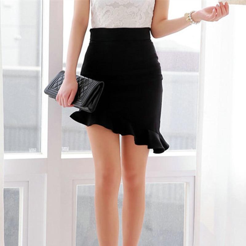 NEW Girls Black Elasticity High Waist Skirts Sexy Asymmetry Ruffles Skirt Slim Women Tight Bias Skirt 3