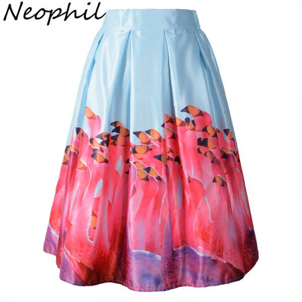 Neophil 19 Vintage Ladies High Waist 3D Flamingos Birds Painting Pleated Women Midi Flare Swing A Line Skirts Tutu Saia S08043