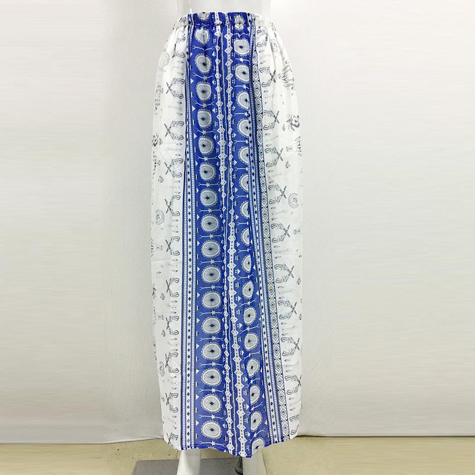 Women skirts Fashion Summer Skirts High Waist Bohemia bifurcate Print Maxi Skirt Elegant Vintage Long Skirt Beach 2