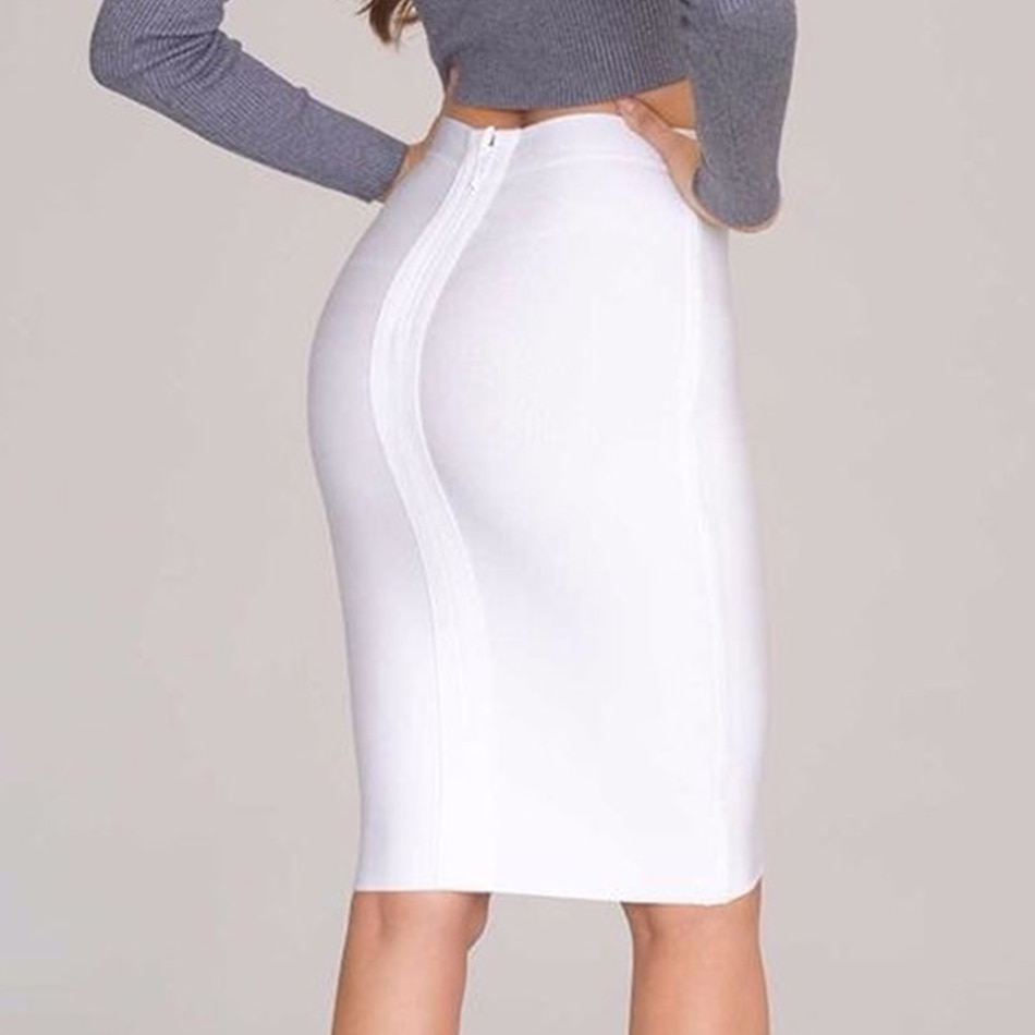 19 Stretchy Elastic Women Knee Length Celebrity Bandage Skirts Sexy Slim Solid Color Pencil Skirt Drop Shipping HLS113 3