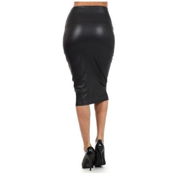 Bohotcotol High waist faux Leather Skirt XXXL Black sexy Pencil skirts middle long Casual mermaid skirt party bar club travel 2