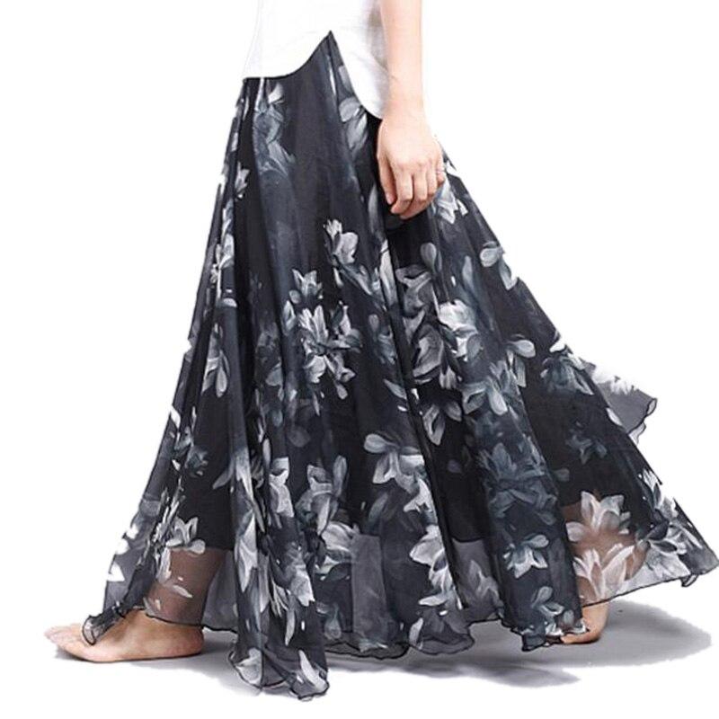 New Fashion 18 Women's BOHO Elegant Florals Print Chiffon Long Skirt Ladies Slim High-Waist Elastic Waist Pleated Skirts SK15 2