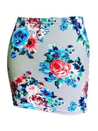 Summer Season Women Low Waist Pencil Skirts Ladies Slim Bodycon Tube Wrap Midi Skirts Floral Cotton Print H150