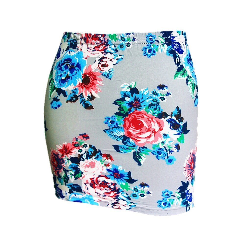 Summer Season Women Low Waist Pencil Skirts Ladies Slim Bodycon Tube Wrap Midi Skirts Floral Cotton Print H150