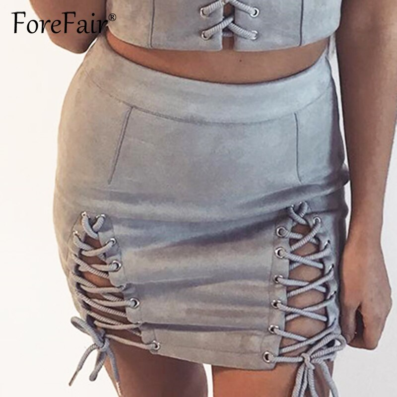 Forefair Suede Leather Skirts Womens 18 Autumn Winter Black Skirt Women Vintage High Waist Lace Up A Line Mini Skirt 2