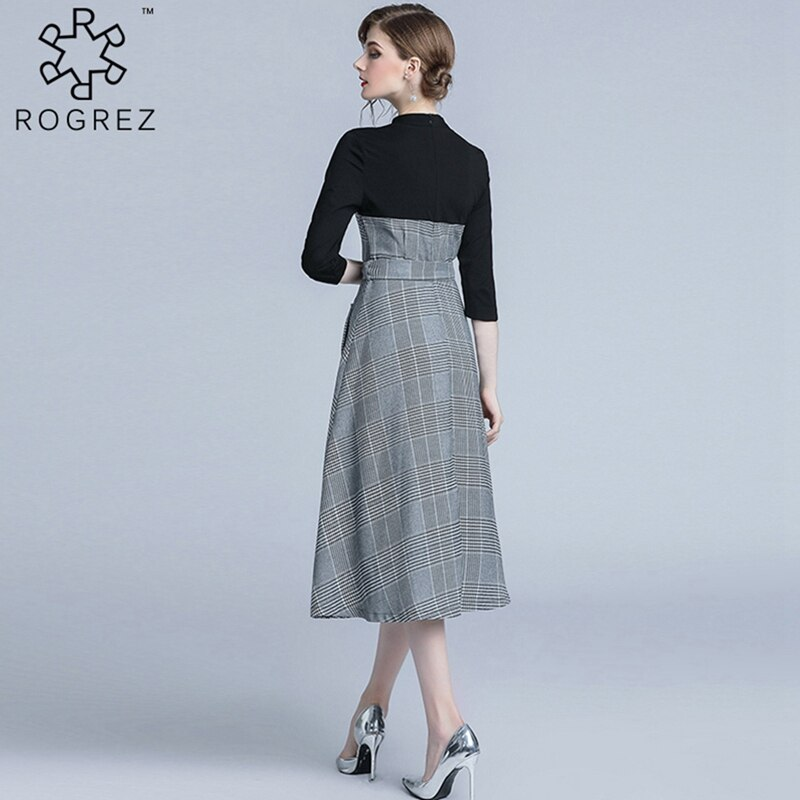 ROGREZ Grey Autumn Winter Casual Women Elegant Dress O Neck Half Sleeve Slash Slim Vestidos Office Long Dresses 3