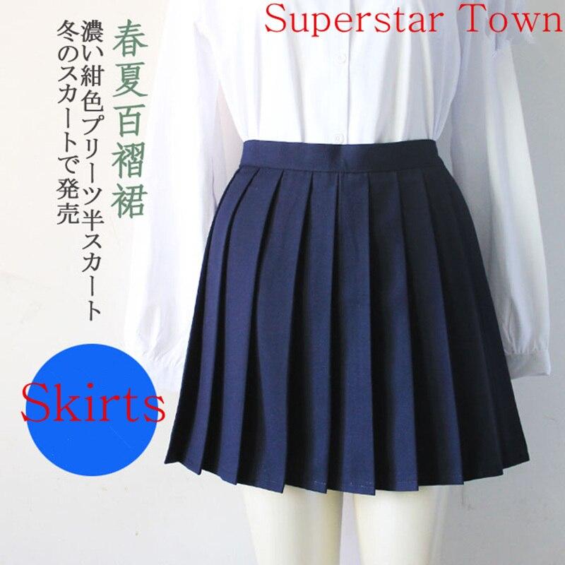 Japan School Girls Uniform Solid Pleated Mini Skirt Cheerleader Sailor Cos Lolita Skirt Women Saias Vestidos 2