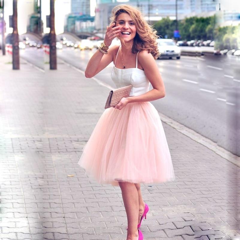 5 Layers 60cm Midi Tulle Skirt Princess Womens Adult Tutu Fashion Clothing Faldas Saia Femininas Jupe Summer Style