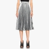 16 Summer New Fashion Vintage Metallic Bling Bling Glitter Gold Pleated Elastic Waist Women Flare Skater Midi Party Skirt