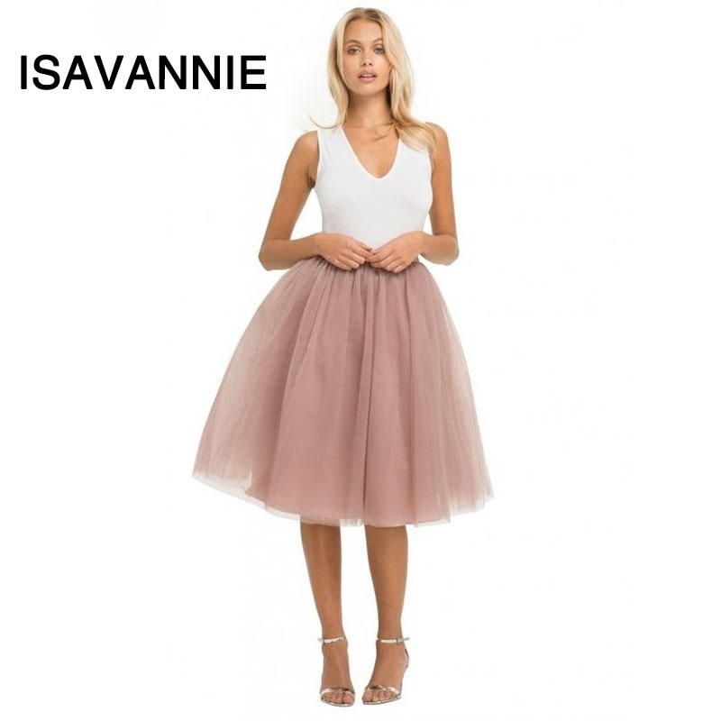 Isavannie Puffy 5 Layers Tulle Skirt Hidden Zipper Style High Waisted Midi Skirts Womens Pleated Skirt Faldas Saias Premium Sewn 1