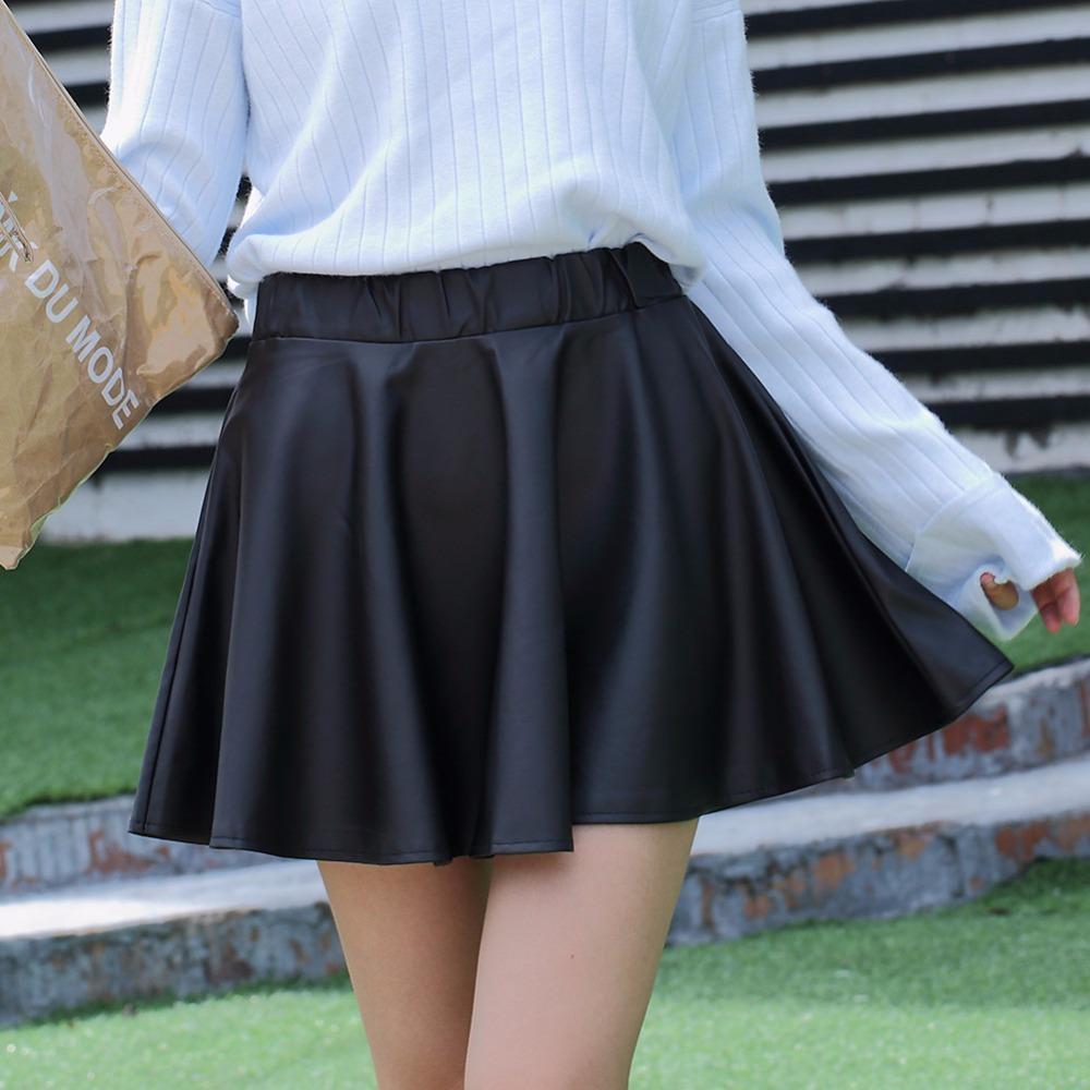 Danjeaner PU Autumn Winter Skirts Women 17 High Waist Black Slim Mini Waterproof Pleated Skirts Female Casual Leather Skirt 2