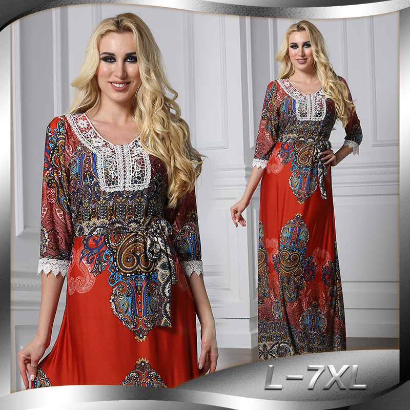 Floral Bohemian women long dress large size half sleeve maxi dress plus size lace v-neck summer dress large vestidos L-7XL 1