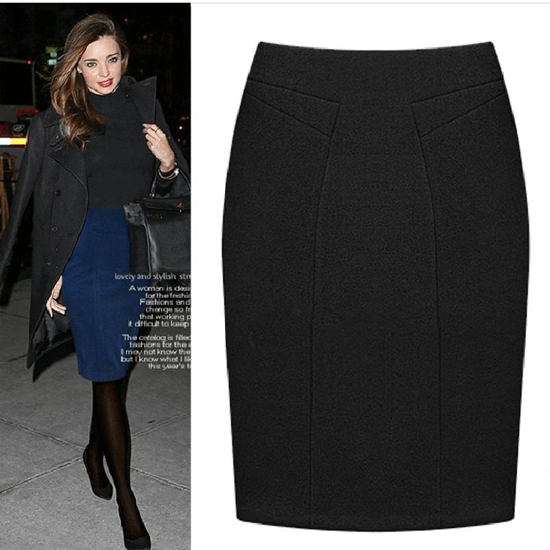 Plus Size Female Knee Length Slim Midi Skirt 19 Autumn And Winter Fashion High Waist Woolen Women Casual Pencil Skirts 1