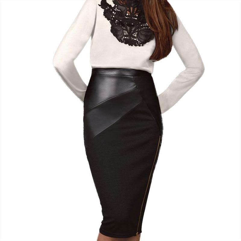 Skirt Leather Patchwork Midi Skirt Eliacher Brand Plus Size Women Clothing Chic Sexy Women Pencil Skirt 1