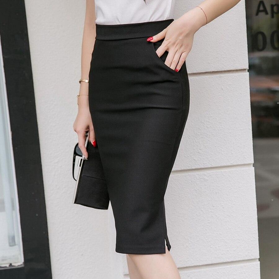 19 Sexy Women Work Skirt Slim Bodycon Summer High Waist Pockets Split Formal OL Office Ladies Black Plus Size Pencil Skirts 3
