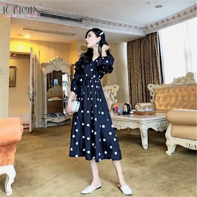 Half Sleeve Summer Women Dress Korean Style V-neck Ladies Evening Party Long Dress Vintage Elegant Dot Dress 19 robe femme 2