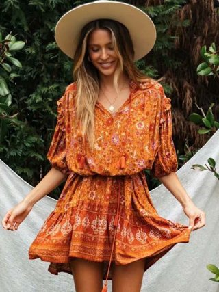 Hippie Floral Print Female Short Dress Summer Sexy V Neck Lantern Sleeve Tassel Retro Vestidos Boho Casual Woman Mini Dress