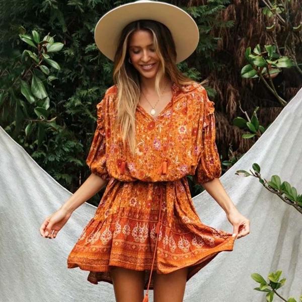 Hippie Floral Print Female Short Dress Summer Sexy V Neck Lantern Sleeve Tassel Retro Vestidos Boho Casual Woman Mini Dress