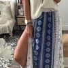 Women skirts Fashion Summer Skirts High Waist Bohemia bifurcate Print Maxi Skirt Elegant Vintage Long Skirt Beach
