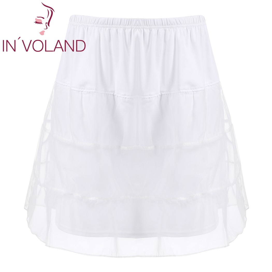 IN'VOLAND Women Skirt Plus Size Organza Patchwork Elastic Band Casual Flared Lady A-Line Tiered Beach Skater Skirt Plus Size 3
