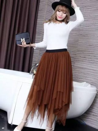 Women Tulle irregular Skirts New 19 spring 3 Layered Mesh Vintage High Waist Tutu Maxi Cake Saias skirts