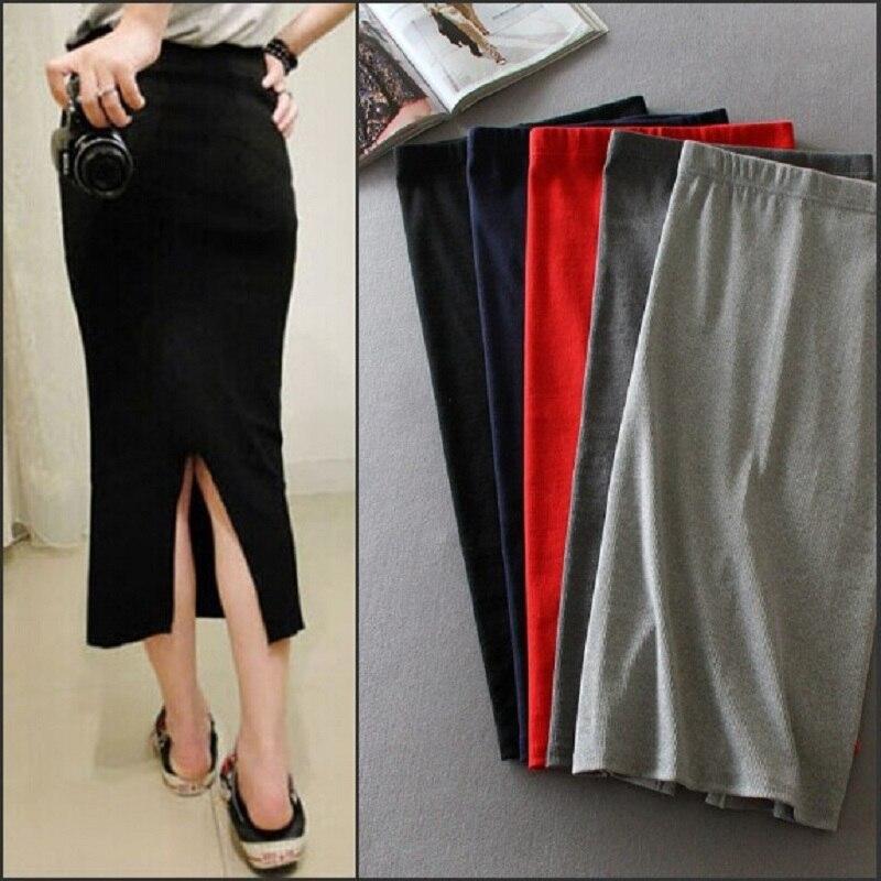 Korean Women Long Skirts High Waist Slim Thin Slit Skirt Saia Longa Rib Tight Package Hip Skirt MY917