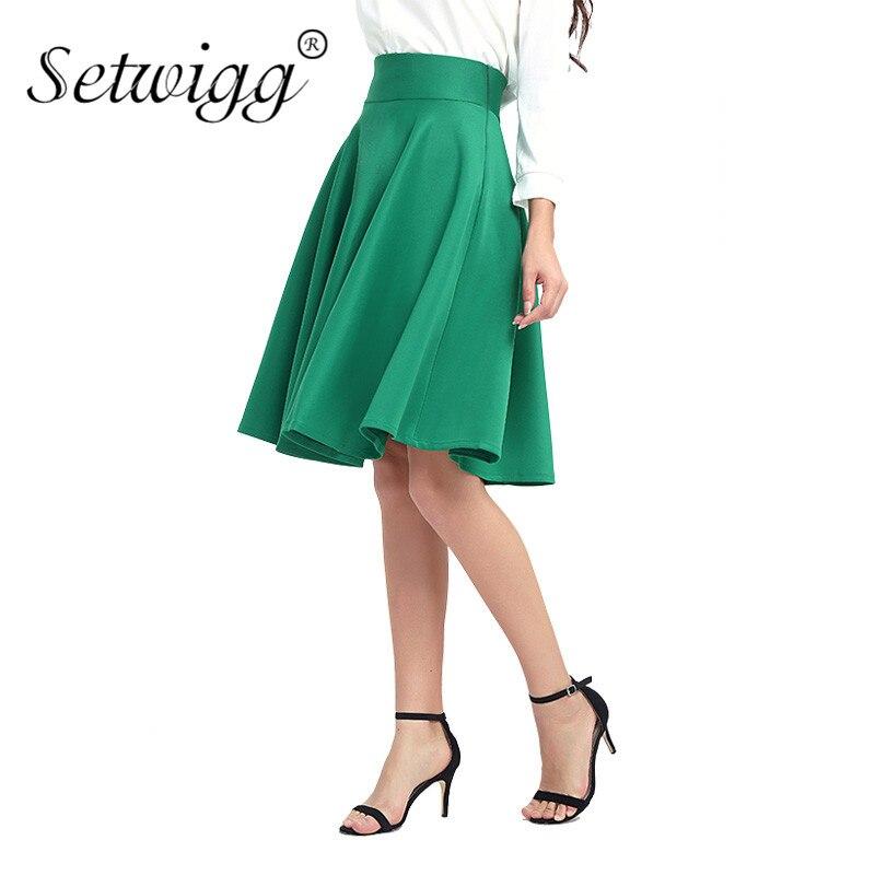 SETWIGG Spring Women's Fashion Midi Skater Skirts High Waist Zipper Thick Flare Pleated Midi Skirt Autumn Swing Skirts SG902 2