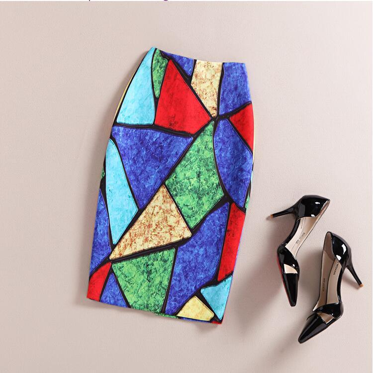 Fashion Women 16 New Print Office Skirt Spring Summer Knee-Length Pencil Back Split Skirts High Quality Faldas Saia Midi Femme 2
