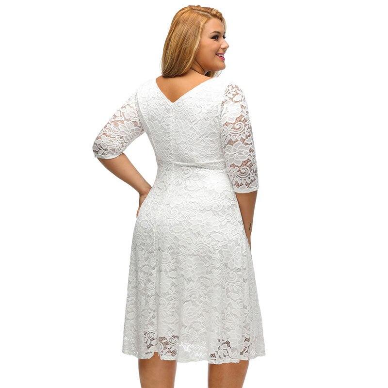 SEBOWEL Plus Size White/Black Floral Lace Curvy A-line Party Dresses Woman Large Size Half Sleeve Dress Female Formal Cocktail 3