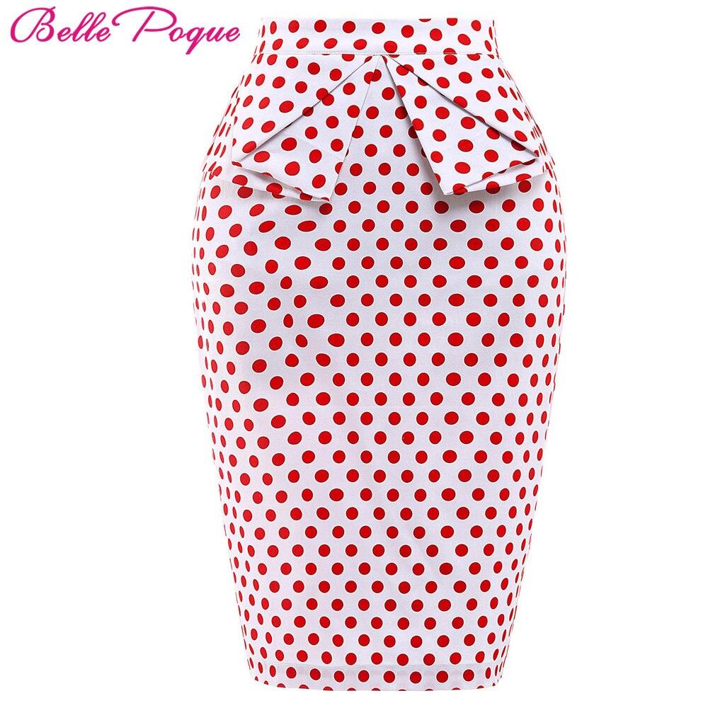 Belle Poque 18 Summer Pencil Skirt Women High Waist Faldas Vintage 50s Elegant Casual Party Bodycon Floral Print Midi Skirts