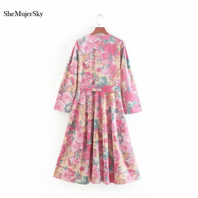 SheMujerSky Summer Women Bohemian Midi Dress With Belt 19 Floral Print V-neck Half Sleeve Boho Dresses 2