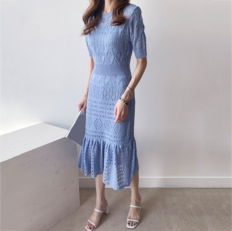 RealShe Women Dress Elegant O-neck Half Sleeve Ruffles Hollow Out Solid Knitted Women Maxi Dress Sping Autumn Vintage Dress 3