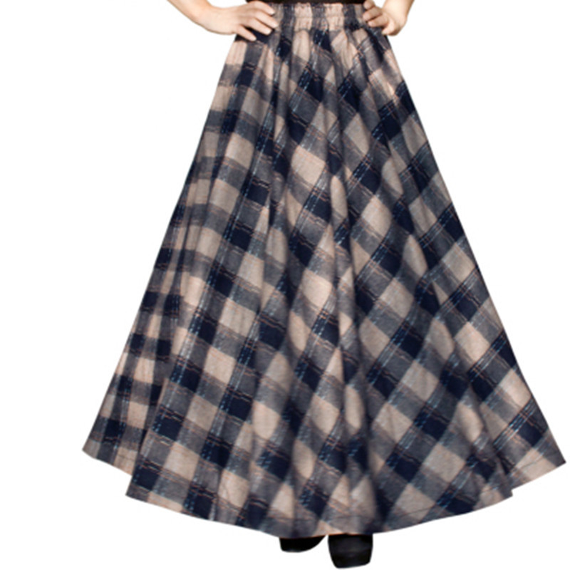 Free Shipping 19 New Fashion Long Maxi Thick A-line Skirts For Women Elastic Waist Winter Plaid Woolen Skirts Warm With Pocket 2